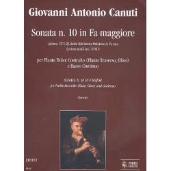 Canuti, Giovanni Antonio: Sonata No. 10 Fa-maggiore : per flauto dolce contralto (flauto traverso, oboe) e Bc partition e