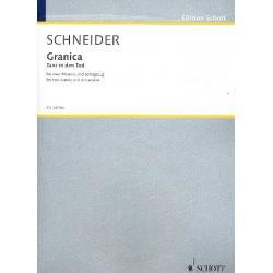 Schneider, Enjott (Norbert Jürgen): Granica - Tanz in den Tod : für 2 Klaviere und Schlagzeug Partitur und Stimmen