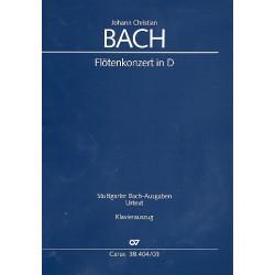 Bach, Johann Christian: Konzert D-Dur WarbC79 für Flöte und Kammerorchester Klavierauszug