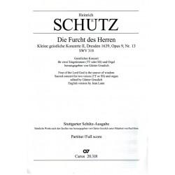 Schütz, Heinrich: Die Furcht des Herren ist der Weisheit Anfang op.9,13 SWV318 : für Männerchor und Orgel Partitur