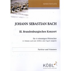 Bach, Johann Sebastian: Brandenburgisches Konzert Nr.3 für 4-stimmiges Flöten-Ensemble Partitur und Stimmen