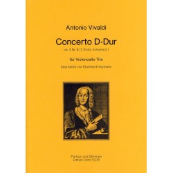 Vivaldi, Antonio: Concerto D-Dur op.3,9 : f├╝r 3 Violoncelli Partitur und Stimmen