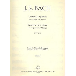 Bach, Johann Sebastian: Konzert g-Moll BWV1058 : f├╝r Cembalo und Streicher Violine 1