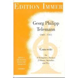 Telemann, Georg Philipp: Concerto : für 3 Trompeten, Pauken, 2 Oboen, Streicher und Bc Partitur und Stimmen