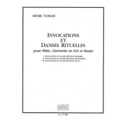 Tomasi, Henri: Invocations et danses rituelles : for flute, clarinet and harp score and parts