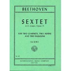 Beethoven, Ludwig van: Sextett Es-Dur op.71 : f├╝r 2 Klarinetten, 2 H├Ârner und 2 Fagotte Studienpartitur