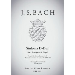 Bach, Johann Sebastian: Sinfonia D-Dur für 3 Trompeten und Orgel Partitur und Stimmen